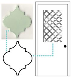 Gorgeous Moroccan faux frosted glass window covering made from contact paper! Full tutorial and stencil included!