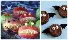 Fun Halloween treats: apple jaws and oreo bats. #recipe #halloween #party