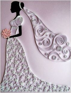 simple crafts making: A Beautiful Bride with a Flower Bouquet with quill...