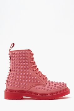 GEEK FASHION / Spike 8 Eye Boot - Pink in Lookbooks The Out There Shop Shoes at Nasty Gal