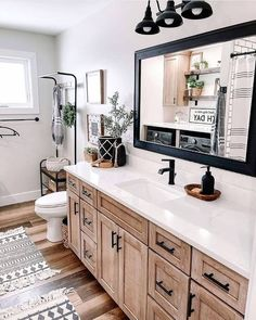 Master Bedroom Bathroom, Upstairs Bathrooms, Shiplap Bathroom, Black Cabinets Bathroom, Farmhouse Master Bedroom, Bathroom Countertops, Bathroom Mirrors, Small Bathroom, Bathroom Lighting