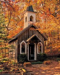 Autumn Refuge. Chapel in the woods.