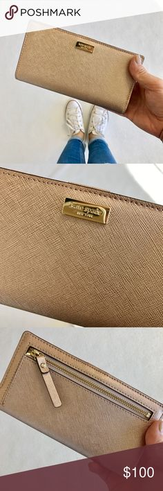 Champagne kate spade Wallet Such a cute Wallet for a night out! It holds everything too! Approx. dimensions: 6.75in x 3.5in MAKE ME AN OFFER kate spade Bags Wallets