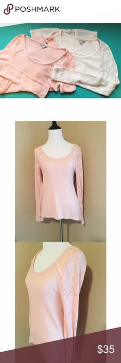 Lucky Brand Thermal Cute and comfy! Both are in new condition. Super soft! Back is semi see through. Comes in cream, soft pink, and red/orange (photos coming soon!). 🚫No trades or PayPal🚫 Lucky Brand Tops Tees - Long Sleeve