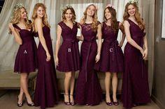 Perfect Natural Knee Length Lace Grape Sleeveless Bridesmaid Dress LOZK1501F