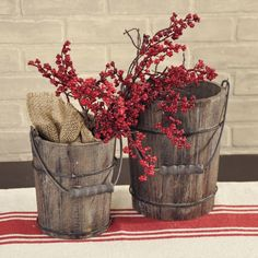 """Beautiful artificial Mini Red Berry Cluster - 17.5"""" high Create a striking primitive or patriotic look for any time of year in your farmhouse or country home. The perfect color for fall, this red berry spray would be great for filling your bouquets and floral arrangements with texture and accents.  Three clusters are shown grouped together. #country #decor #artificial #spring #flowers"""