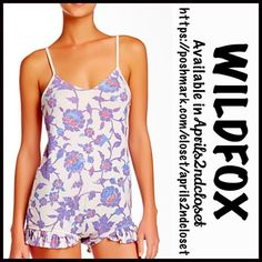 "WILDFOX Ruffle Floral Romper NEW WITH TAGS Retail: $118  WILDFOX Ruffle Romper  * Adjustable thin straps & V-neck front  * Ruffle trim detail   * A stretch-to-fit and pull-on style  * It measures about 27"" long, w/a approx. 2.5"" inseam  * Allover print w/a subtly washed look   Fabric: 100% Rayon  Color: Multi Patterned Floral Print  Item: 93900 # Pastel  No Trades ✅ Offers Considered*✅  *Please use the blue 'offer' button to submit an offer. Wildfox Dresses"