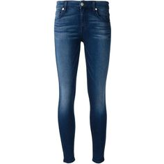 7 For All Mankind cropped skinny jeans (430 AUD) ❤ liked on Polyvore featuring jeans, pants, bottoms, pantalones, calças, blue, blue jeans, blue skinny jeans, cropped jeans and denim skinny jeans