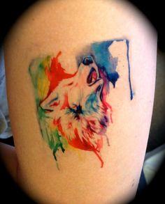 Rainbow Wolf Temporary Tattoo by Lucky978.deviantart.com on @deviantART