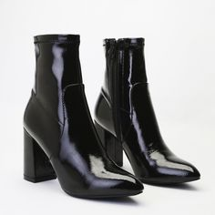Raya Pointed Toe Ankle Boots in Black Patent | Public Desire