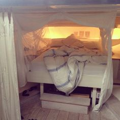 Bedroom in the old machineroom of our boat