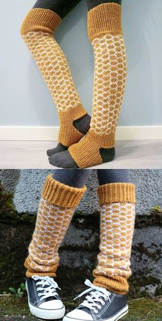 Knitting Pattern for HoneyComb Leg Warmers sizes XS-XL - 2 color slipped stitch honeycomb patterned leg warmers. Sizes XS to XL. Designed by Therese G. Fair Isle Knitting Patterns, Knitting Stitches, Knitting Socks, Free Knitting, Crochet Patterns, Leg Warmer Knitting Pattern, Knitting Machine, Crochet Leg Warmers, Knit Crochet