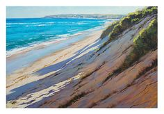 BEACH OIL PAINTINGS impressionist sand dunes art by GerckenGallery Use of cool and warm colours of same value in shadows
