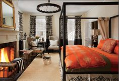 Love the look of this bedroom with ANICHINI Persia Bedding in Steven Favreau's bedroom in Design New England