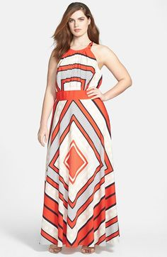 Scarf Print Woven Maxi Dress (Plus Size)