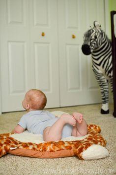 Playing on a giraffe