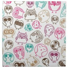 cherry pattern in brown and pink | Cute birds owl pattern in pink blue and brown napkin