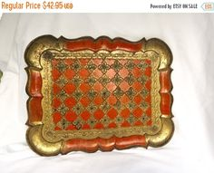 Vintage Florentine Tray Made in Italy Moulded plastic Ornate red orange gold with gold accents by StudioVintage on Etsy