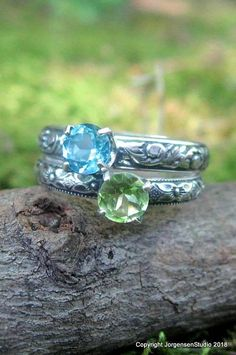 Looking for a birthstone ring or mothers stacking ring? What to be unique and different? Gemstone stacking rings available in all the juicy gemstone colors including blue topaz and peridot.  www.etsy.com/shop/jorgensenstudio