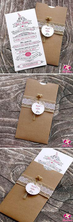 Convite para casamento rústico com envelope Kraft e acabamento de Juta, renda e flores secas.