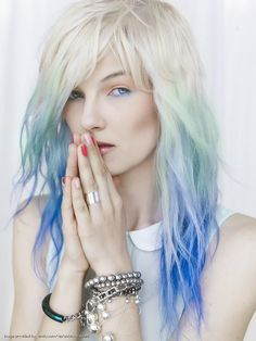 Ombre Pastel Hair - Platinum Blonde to Mint, Seafoam, Light Blue and Brighter Blue. ♥