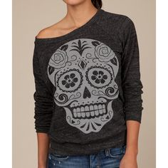 bffe93360d71e Skull off the shoulder tops for women sexy boat neck sweatshirt