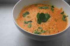 the veganette: Carrot Ginger Coconut Soup with Fresh Mint and Parsley