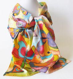 Silk scarf  hand painted Batik.  Summer butterflies. by LIAKURZ, $92.00