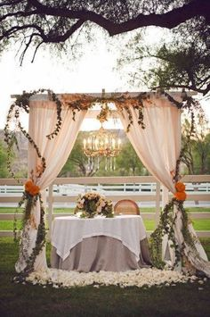 Wedding arch for an unforgettable secular ceremony - 75 decorating ideas The secular wedding ceremony has its magic moments full of emotions that leave unforgettable memories. To pronounce one's vows under a wedding arch is. Ceremony Arch, Wedding Ceremony, Table Wedding, Wedding Venues, Outdoor Wedding Arches, Wedding Catering, Outdoor Fall Wedding Reception, Outdoor Wedding Ceremonies, Backyard Tent Wedding