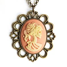 Lolita Cameo Necklace Peach  by Renee Kowalsky
