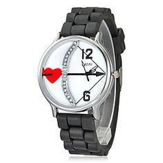 Women Chronograph Quartz Analog Heart White Dial Black Silicons Band Wrist Watch