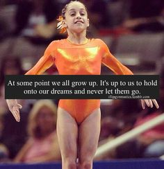 At some point we all grow up. It's up to us to hold onto our dreams and never let them go. Gymnastics Moves, Tumbling Gymnastics, Gymnastics Flexibility, Gymnastics Videos, Gymnastics Pictures, Sport Gymnastics, Artistic Gymnastics, Olympic Gymnastics, Gymnastics Things