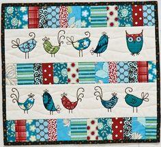 adorable bird mini quilts