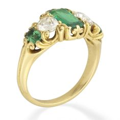 A late Victorian emerald and diamond five-stone ring