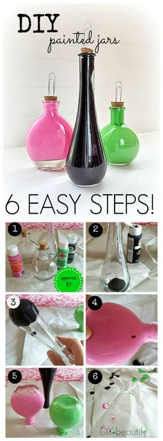 Easy and Inexpensive gift idea, these Painted Bottle Photo Holders are easy to make and really cute! | DIY beautify