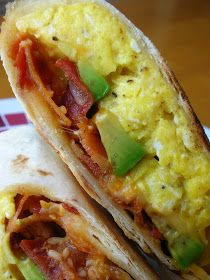 Avocado, bacon, breakfast wrap...I would make some additions like tomatoes, mushrooms, and bell pepper...change it up to use weight watchers cheese, and a whole grain or veggie wrap but excellent idea! Yummy!