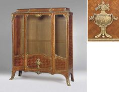 A FRENCH GILT METAL MOUNTED KINGWOOD AND PARQUETRY VITRINE