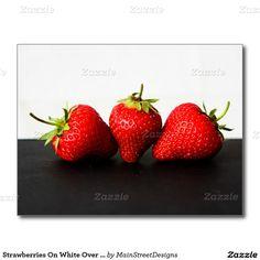 Strawberries On White Over Black Postcard