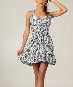 Another great find on #zulily! Black & White Floral Ruffle Surplice Dress by Aller Simplement #zulilyfinds