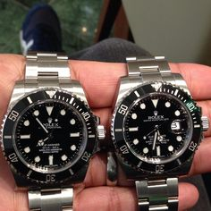 "womw: "" Rolex ceramic submariner date vs no date by izzkaler from Instagram http://ift.tt/ZNOw6l """