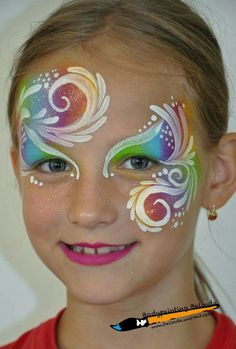 Rainbow One-Stroke-Comas and Swirls # maquillaje . Face Paint Makeup, Body Makeup, Face Painting Designs, Paint Designs, Painting For Kids, Painting Tips, Painting Station, Wie Macht Man, One Stroke