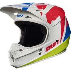 Shift 2017 Mx NEW WHIT3 Label Dirt Bike Tarmac Red Blue White Motocross Helmet