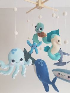 Into The Blue Baby Mobile - Ocean Baby Mobile - Sea Creatures Mobile - Whale Mobile - Cot Mobile - Crib Mobile