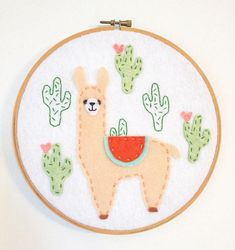 This embroidery hoop art, with its soft texture and soothing colors will be a beautiful piece to accent your wall. This happy llama would also be a fun gift to make anyone smile. Decorate a wall by hanging it from a nail, use ribbon to hang or place on a shelf. This wall hanging is