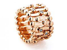 Rose gold and diamond flexible ring by Gebruder Schaffrath
