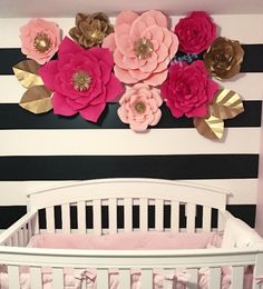 8 pc Giant Paper Flowers Nursery Backdrop Customize by ShopOliposa