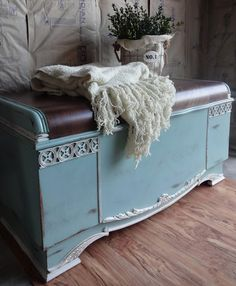 My client came in with her hubby and asked if I would be willing to do this cedar chest for a Christmas gift for someone special. Of cou. Diy Home Furniture, Refurbished Furniture, Furniture Styles, Repurposed Furniture, Furniture Projects, Furniture Makeover, Painted Furniture, Chest Furniture, Ottoman Furniture