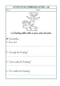 Dori dos 1112_mt006_r1_comprensio_lectora_4 Math Equations, School, Audio, Texts, Catalan Language