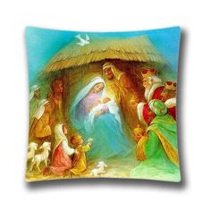 Christmas Decorative Pillow CoverChristmas Nativity Pillow Cover 18x18one side Cotton Linen Cushion Cover for Sofa -- Continue to the product at the image link.