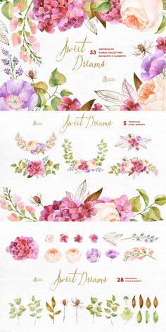 Floral Collection by OctopusArtis. This set of 33 high quality hand painted watercolor floral Images(elements and bouquets) in Hires. Perfect graphic for wedding invitations, greeting cards, photos, posters, quotes and more. Wreath Watercolor, Watercolour Painting, Watercolor Flowers, Painting & Drawing, Watercolors, Art And Illustration, Watercolor Illustration, Painting Inspiration, Wedding Cards